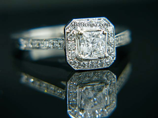 custom princess cut engagement ring by MiaDonna&Co