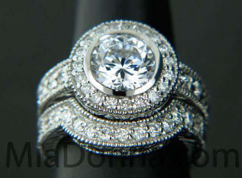 wedding rings antiqued with diamonds