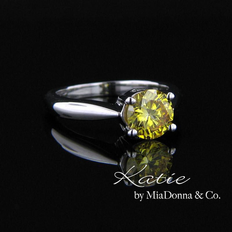 MiaDonna fancy vivid yellow man made diamond engagement ring MiaDonna Diam