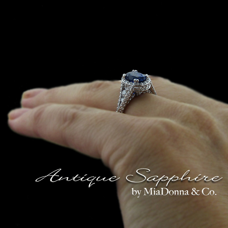 Antique blue sapphire engagement ring by miadonna for Man made sapphire jewelry