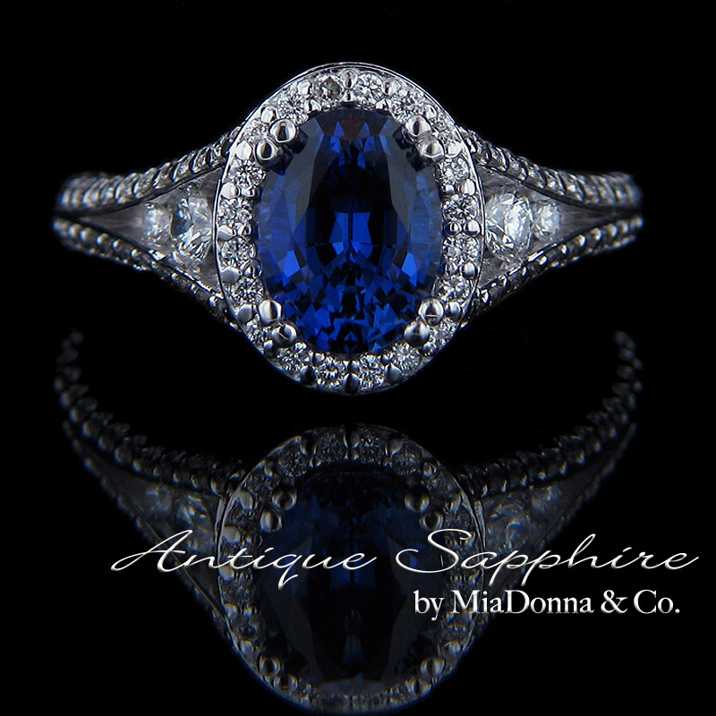 antique blue sapphire engagement ring by miadonna antique