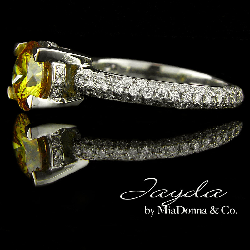 Fancy Yellow Man Made Diamond Engagement Ring by MiaDonna MiaDonna Diamond