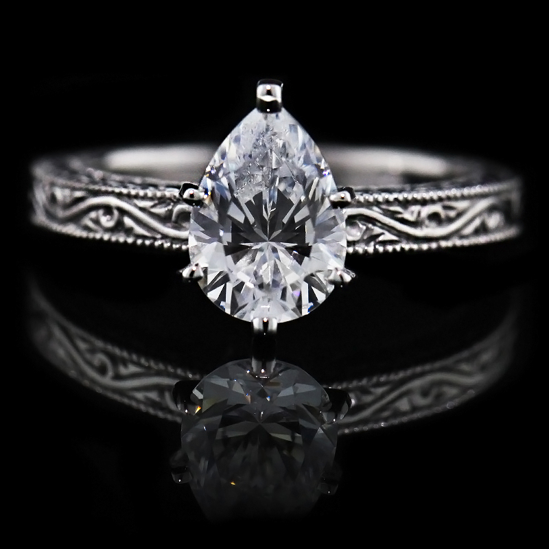 Filigree Solitiare Engagement Ring The Victorian by MiaDonna MiaDonna Dia