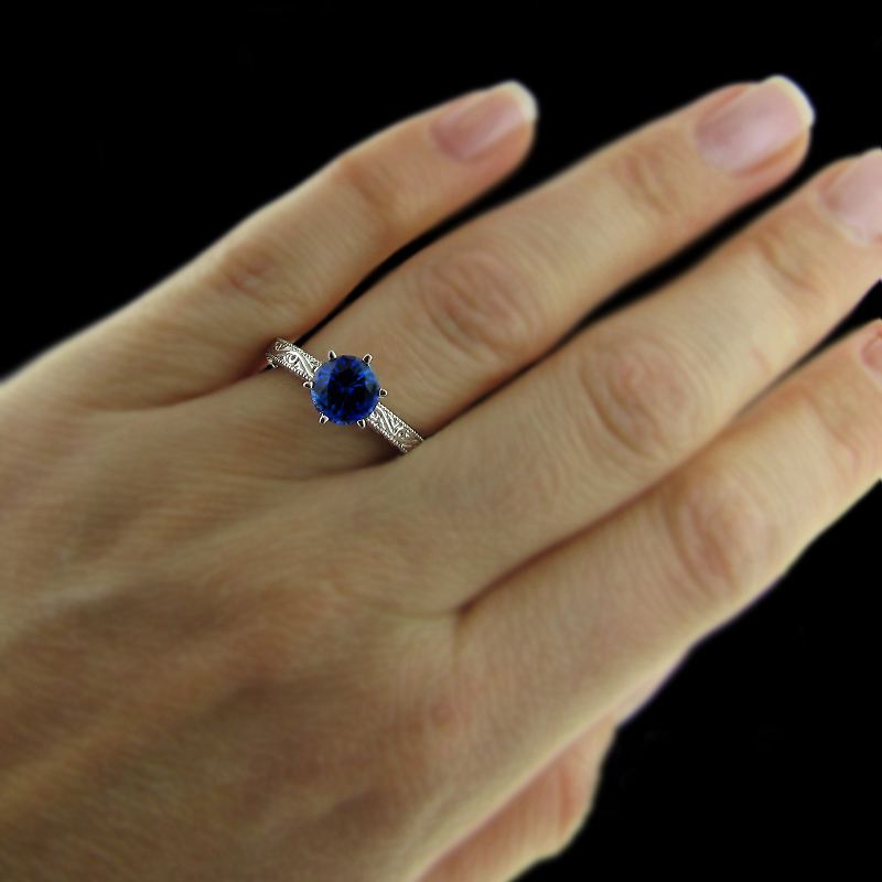 Filigree solitiare engagement ring the victorian by for Man made sapphire jewelry