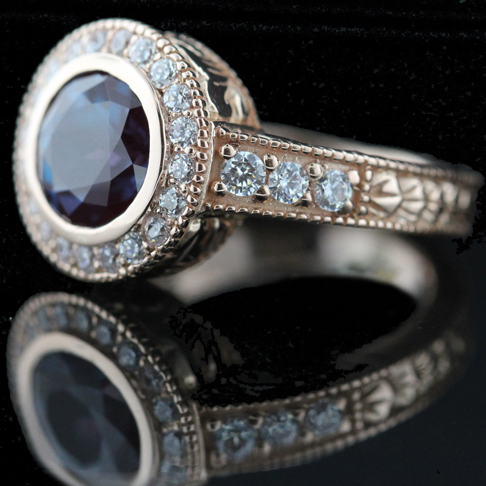 Alexandrite engagement rings miadonna for Man made sapphire jewelry
