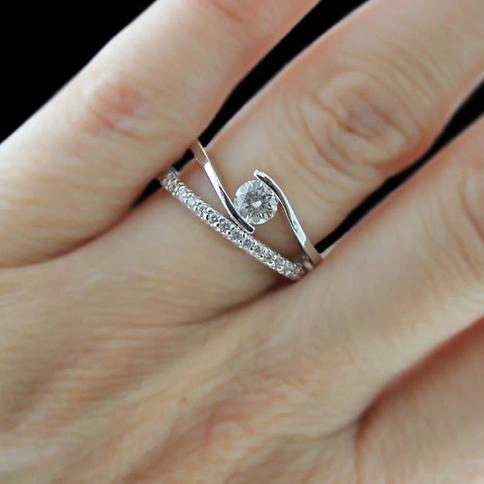 Solitaire-Diamond-Engagement Ring-Man-Made Diamonds-MiaDonna