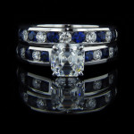 Asscher cut Wedding Set_Diamond and Blue Sapphire stones