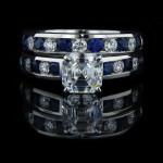 Asscher cut Wedding Set_Diamond and Blue Sapphire stones