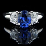 Celestial Engagement Ring_Oval cut Lab Created Blue Sapphire