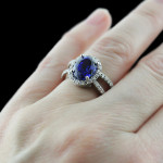 Coco Split Shank Engagement Ring_Oval cut Blue Sapphire Gemstone