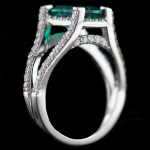 Custom_Split Shank Engagement Ring_Emerald cut Emerald Gemstone