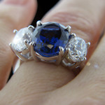 Custom_ThreeStone Ring_Oval cut Blue Sapphire