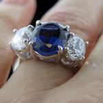 Custom_ThreeStone Ring_Oval cut Blue Sapphire