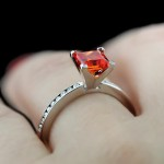 Drew Accented Engagement Ring_Princess cut Padparadscha Gemstone
