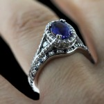 Empress Antique Engagement Ring_Custom Diamond and Sapphire Wedding Band