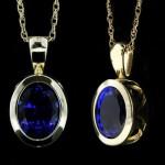 Filigree Bezel Set Pendant_Oval cut Blue Sapphire