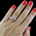 Happy Three Stone Ring Lab Created Pink Sapphire