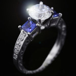 Julie Antique Engagement Ring_Princess cut Blue Sapphire Side Stones