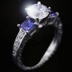 Julie Antique Engagement Ring_Princess cut Blue Sapphire Side Stones