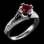 Phoebe Antique Engagement Ring_Round cut Ruby Gemstone