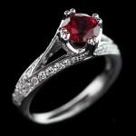 Phoebe Antique Engagement Ring_Round cut Ruby Gemstone