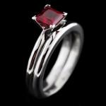 Tiffany Wedding Set_Princess cut Ruby Gemstone