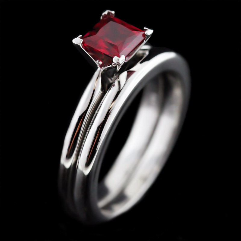 ruby and diamond engagement ring tiffany - Ruby Wedding Ring Sets