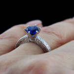 Victorian Antique Engagement Ring_Round cut Blue Sapphire