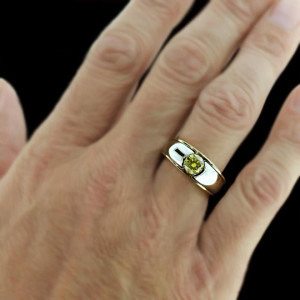 Men's Two Tone Band with Yellow Man Made Diamond