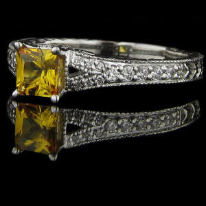 Bella Antique Engagement Ring with Yellow Man Made Diamond