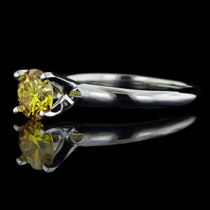 Tiffany Solitaire with Yellow Man Made Diamond