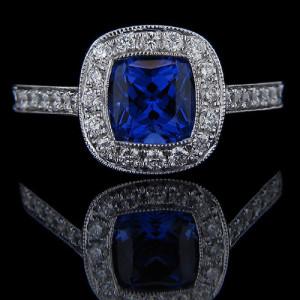 MiaDonna Luxury Lab Created Blue Sapphire Antique Engagement Ring