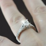 Colorless Princess cut Man Made Diamond in Bella Antique Engagement Ring