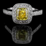 Cushion cut Yellow Man Made Diamond in Luxury Engagement Ring