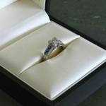 Princess cut Colorless Man Made Diamond in Custom Engagement Ring