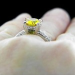 Yellow Man Made Diamond in Jayda Engagement Ring