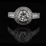 Round Colorless Man Made Diamond in Renee Antique Engagement Ring