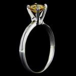 Yellow/Orange Man Made Diamond in Tiffany Engagement Ring
