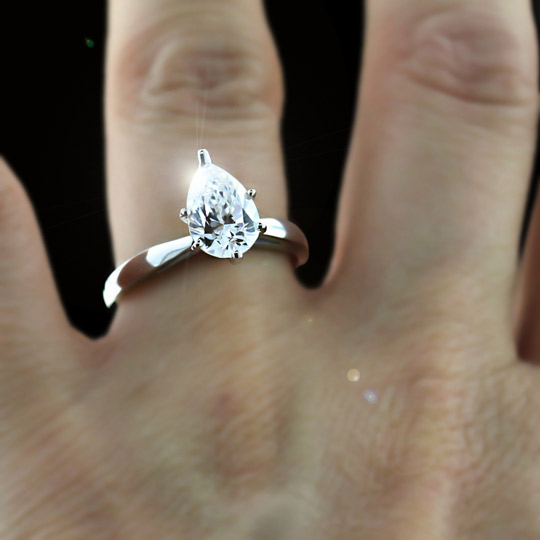 Gallery For Pear Solitaire Engagement Ring