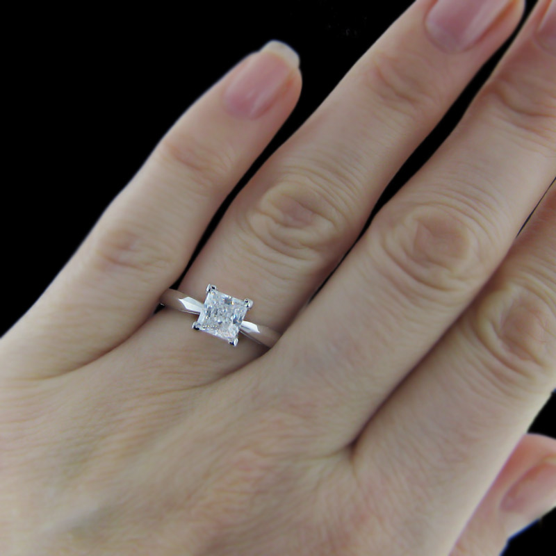 pics for gt princess cut engagement rings on finger