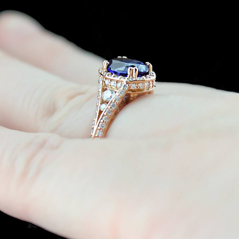 Rose Gold Engagement Rings With Sapphire BlUoFEkZ   Wedding Ring