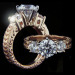 Shelley Three Stone Engagement Ring in Rose Gold