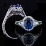 Empress Antique Engagement Ring with Blue Sapphire