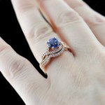 Infininty Wedding Set in Rose Gold with Blue Sapphire