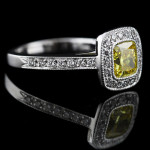 Luxury Antique Engagement Ring with Yellow Man Made Diamond