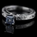 Victorian Engagement Ring with Asscher cut Blue Man Made Diamond
