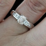 Melanie Engagement Ring with Emerald cut White Man Made Diamond