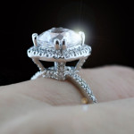 Custom Cushion cut Halo Engagement Ring