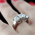 Custom Three Stone Trellis Set Engagement Ring