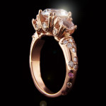 Custom Three Stone Rose Gold Engagement Ring